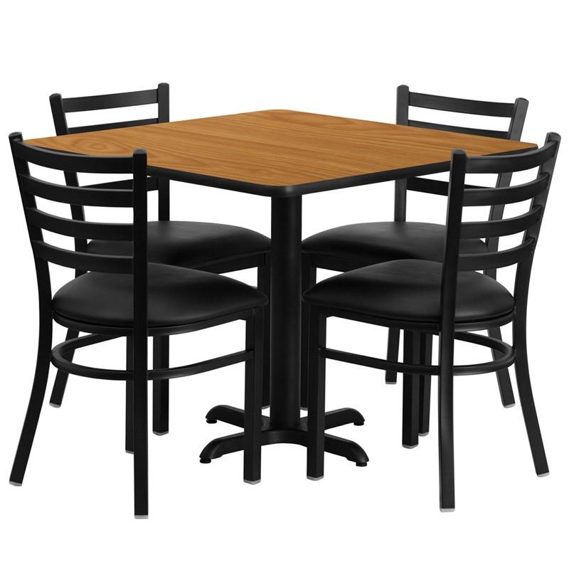 Laminate Table Set - Natural Table w/ Black Vinyl Ladderback Chair